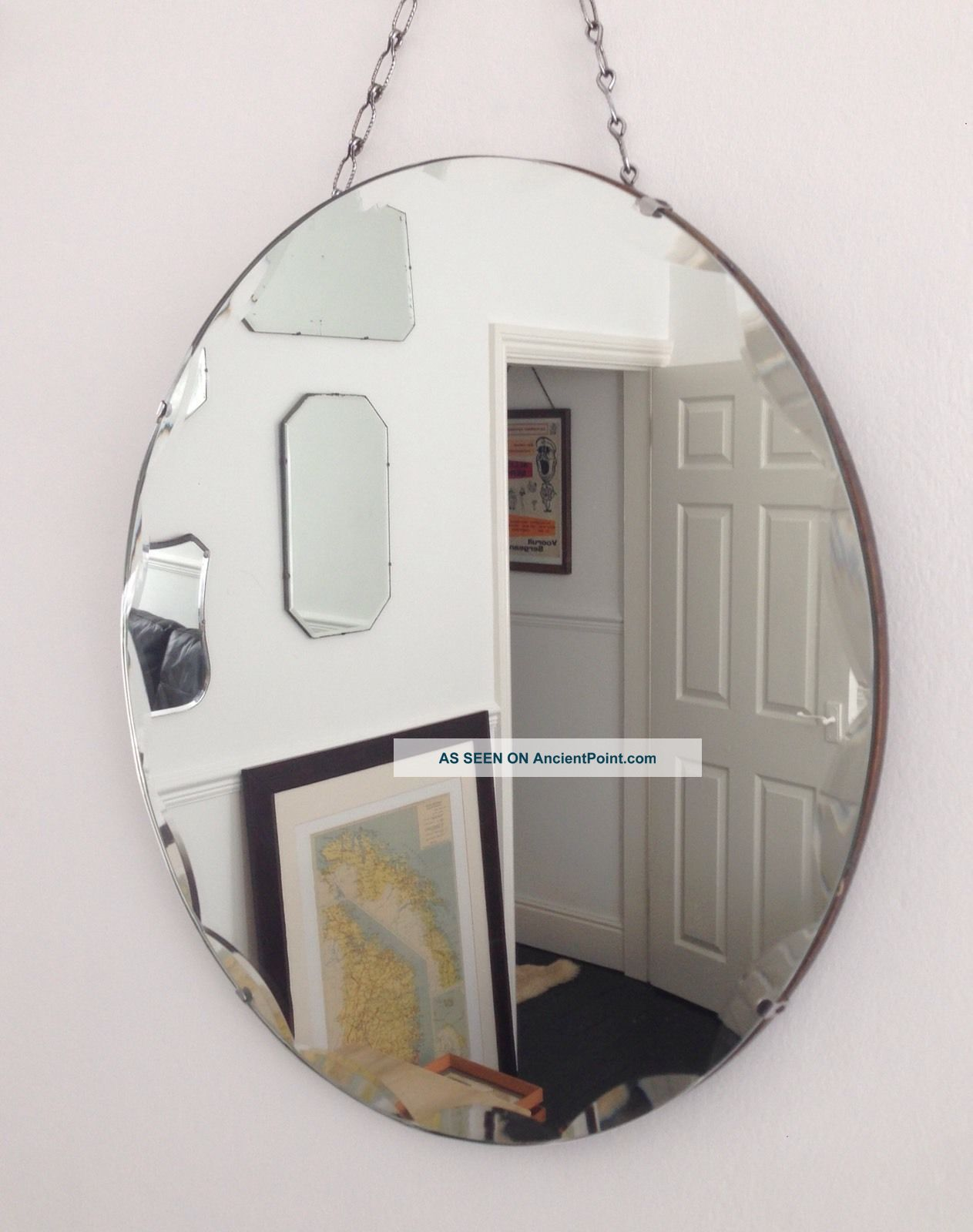 Vintage Art Deco Round Frameless Beveled Scalloped Edge Wall Mirror With Chain