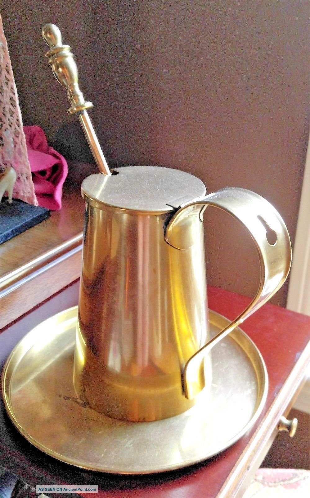 Cape Cod Shop Brass Fire Starter Smudge Pot Pumace And Wand Drip Plate Hearth Ware photo