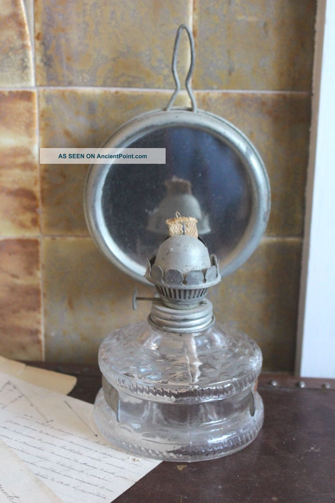 Vintage French Oil Lamp With Mirror 20th Century photo
