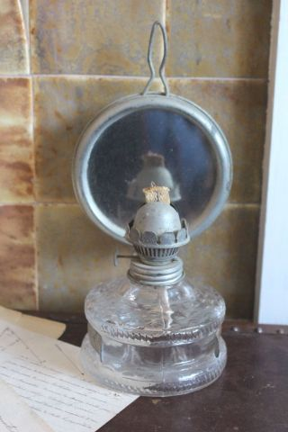 Vintage French Oil Lamp With Mirror photo