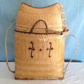 Vintage Filipino Ifugao Tribal Woven Rattan Pasiking Backpack Bag Philippines photo