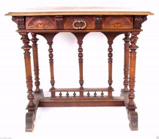 French Neo Gothic Walnut Desk Or Side Table,  19th Century Antique photo