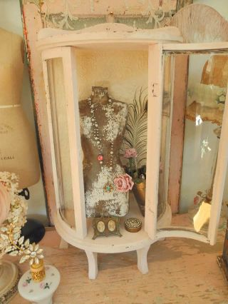 Adorable Vintage Chippy Pale Pink Curved Glass Curio Footed Display Cabinet photo