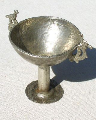 19th C.  Heavy Ingot Libation Cup.  925 Silver Andes Indian Tm11448 photo