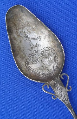 Gorgeous Large Antique Topo Pin Andes Indian Silver Bird Heart Designs Tm9731 photo