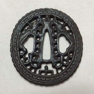 A799: Real Old Japanese Samurai Iron Sword Guard Tsuba Of Popular Nanban Style photo