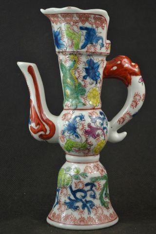 Rare Old Porcelain Painting Vivid Dragon & Beauty Phoenix Showily Noble Wine Pot photo
