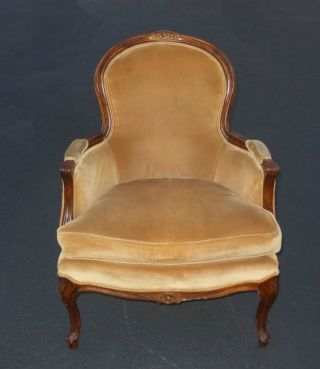 Vintage French Provincial Tan Velvet Arm Chair May Company Chair photo