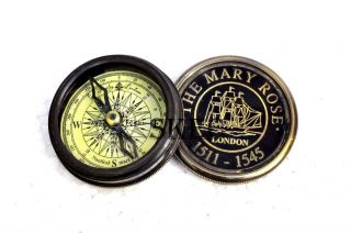 Vintage Robert Frost The Marry Rose London Brass Antique Maritime Poem Compass photo
