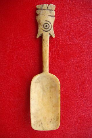 Antique Inuit Carved Caribou Antler Bone Spoon - Sami Lap Eskimo photo