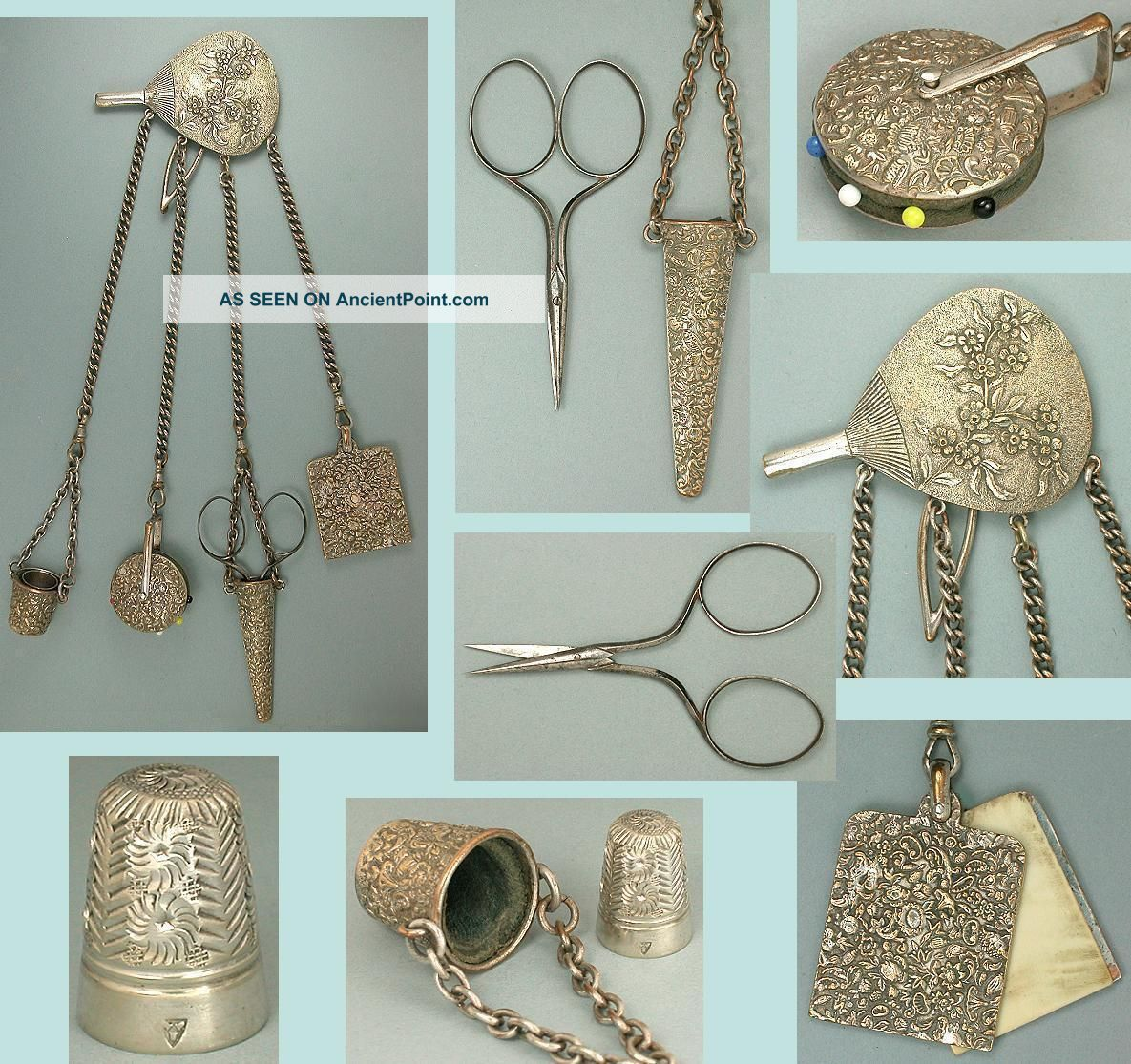 Ornate Antique English Sewing Chatelaine W/ Scissors,  Thimble,  Pin Wheel C1890 Other Antique Sewing photo