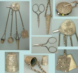 Ornate Antique English Sewing Chatelaine W/ Scissors,  Thimble,  Pin Wheel C1890 photo
