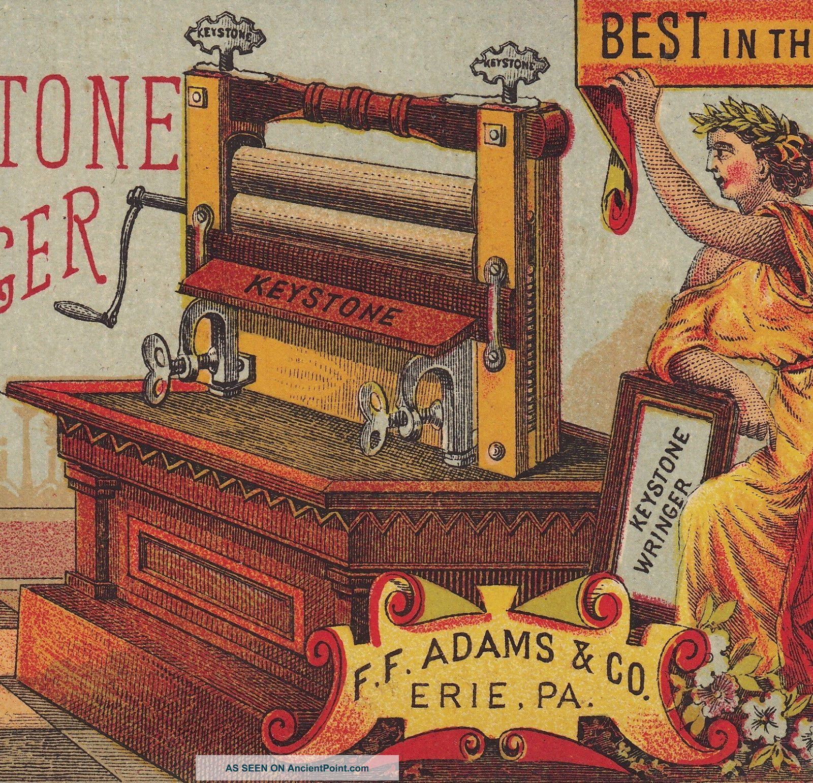 Antique Keystone Clothes Wringer Erie Pa Goddess Lady Victorian Advertising Card Clothing Wringers photo