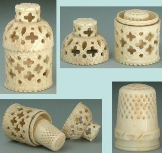 Antique Pierced Bone Thimble Case & Thimble Circa 1820 photo