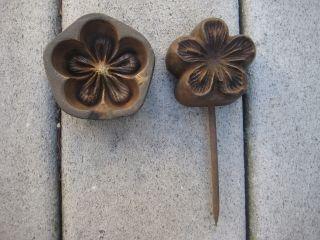 Vintage/antique Millinery 5 Petal Flower Mold Tool Bronze? R photo