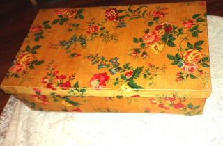 Vintage 1940 ' S Roses Floral Dress Coat Box Chic Shabby Cottage Storage photo