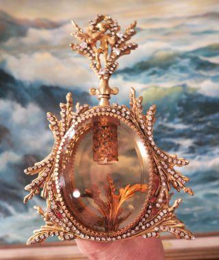 Vintage Vanity Jeweled Ormolu Gilt Perfume Bottle Matson Rose Peach Glass Cherub photo