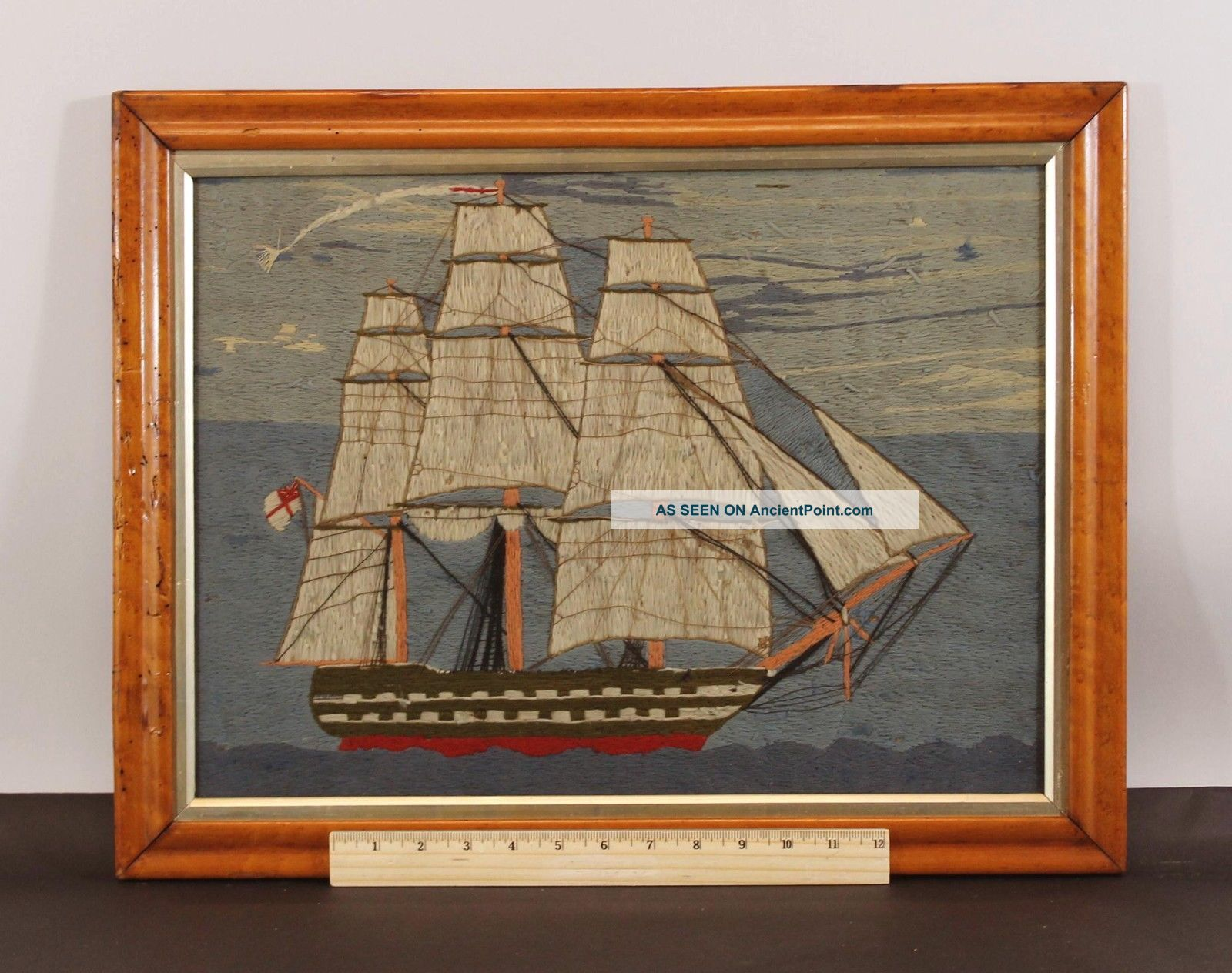 Antique 19thc British Sailor Folk Art Woolwork Wooly Embroidery Ship Of The Line Folk Art photo