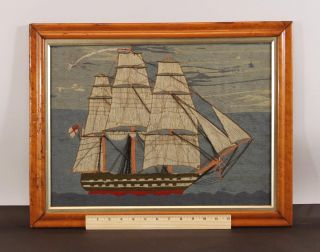 Antique 19thc British Sailor Folk Art Woolwork Wooly Embroidery Ship Of The Line photo