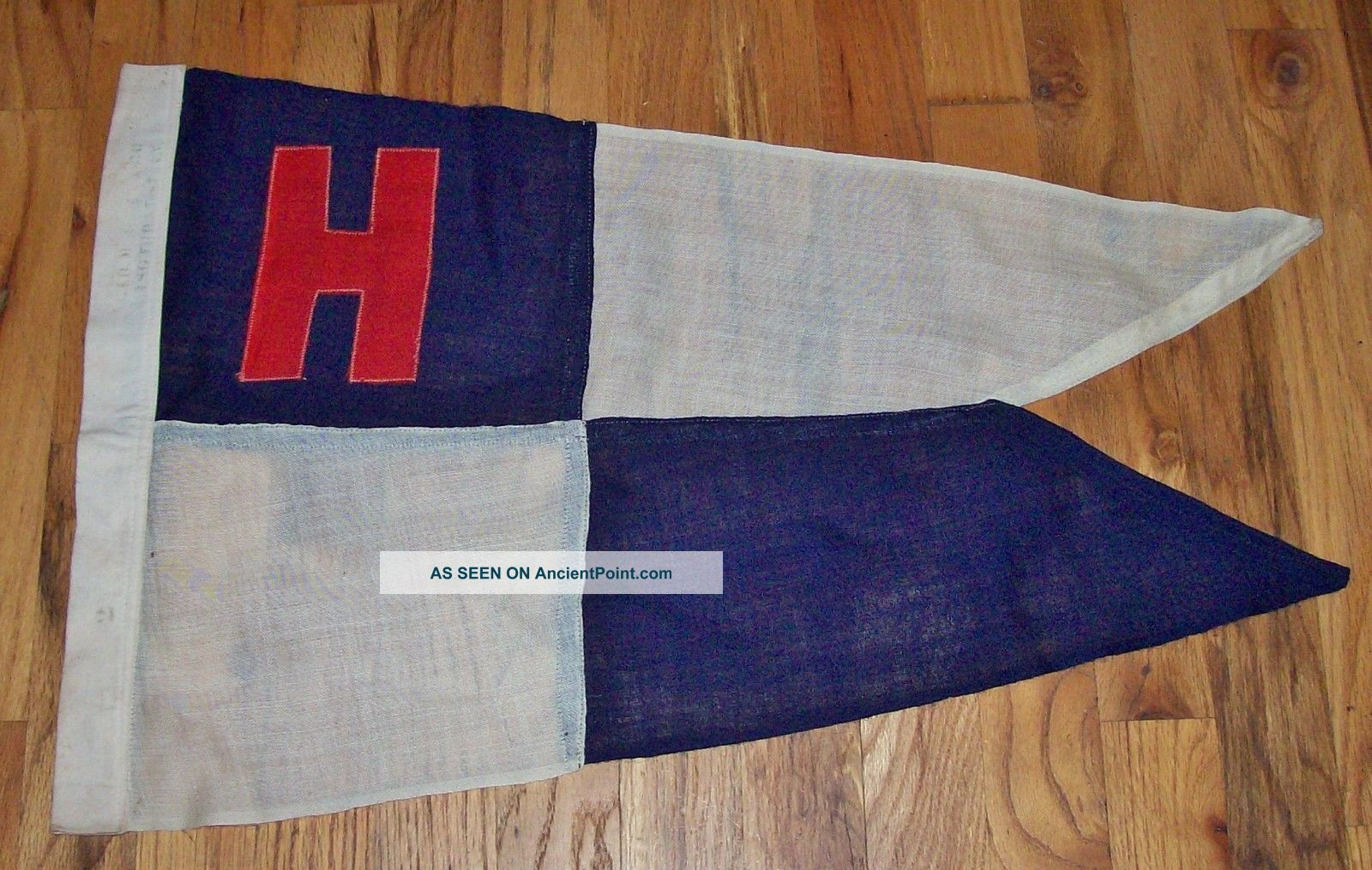 Vintage 1930 ' S - 40 ' S Nautical Yachting Linen Flag - Pennant All,  Beauty Other Maritime Antiques photo