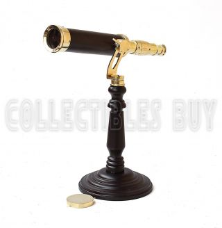 Solid Brass Table Telescope Home & Office Desk Replica Coated Lens Full Portable photo