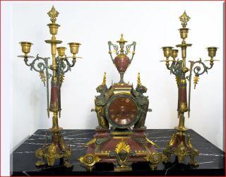 Tiffany Clock Garniture Belle Epoque Period Pendulum photo