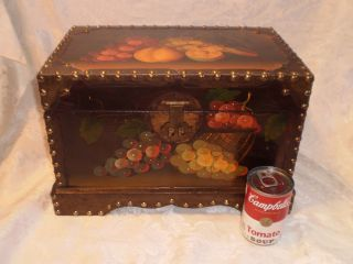 Vintage Large Chest Box Handmade Tole Painted Grapes Wine Theme photo
