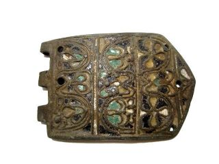 Very Rare Byzantine Era Bronze Buckle,  Top Enamel Colorful Decoration, photo