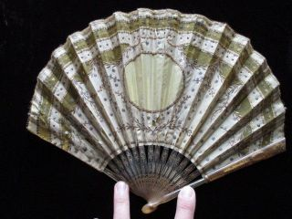 Antique Hand Fan 2 Balloon Shaped Fans Sequinsed Embroidery Silk Faux Tortoise photo