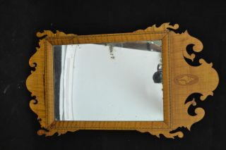 Chippendale Tiger Maple Inlaid Shell Mirror Vintage Signed L Brooks Bedford photo