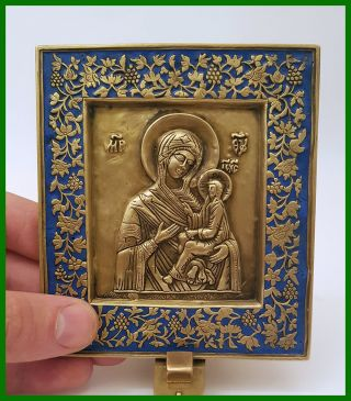 Russia Orthodox Bronze Icon The Virgin Of Tikhvin.  Enameled.  19th.  Century. photo