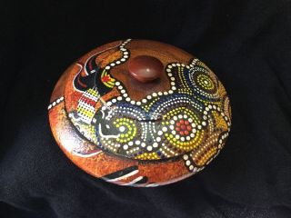 Aboriginal Wood Box Australia Artist Signed Hand Painted Trinket Round photo