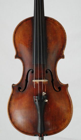 Old Vintage Antique 4/4 Violin Interesting Fine One Piece Back 354mm photo