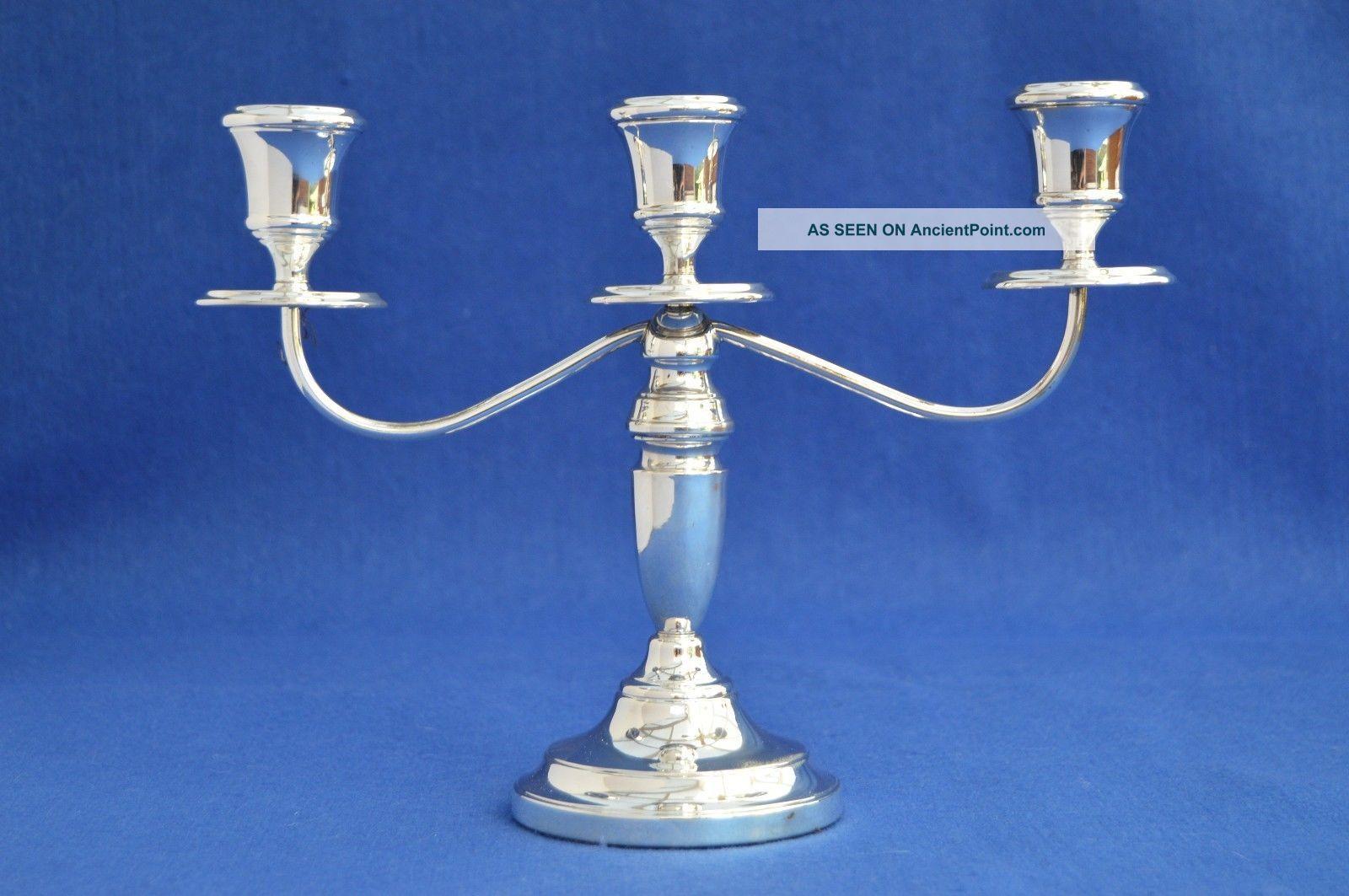 Vintage Solid Silver Candelabra - Birmingham 1975 - Candle Holders Three Branch Candlesticks & Candelabra photo