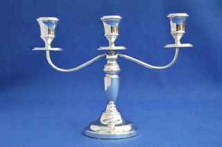 Vintage Solid Silver Candelabra - Birmingham 1975 - Candle Holders Three Branch photo