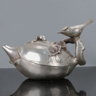 Old Chinese Cupronickel Handwork Bird Motif Teapots W Qianlong Mark photo