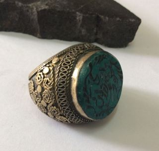 Mens Engraved Ring Malachite Stone Old Islamic Afghan Persian Arabic Intaglio 11 photo