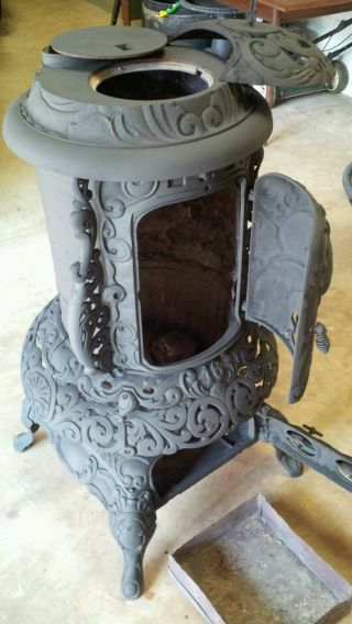 Ornate Gem Oak 16 Cast Iron Wood/coal Burning Stove,  Parlor / Cylinder Stove photo