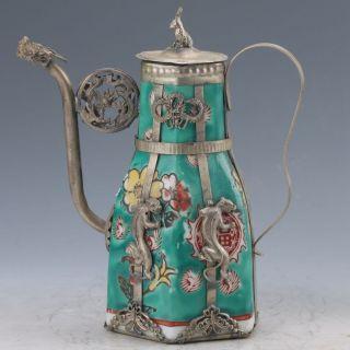 Chinese Famille Rose Porcelain Armor Tibet Silver Handwork Flower Teapot Z64 photo