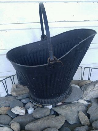 Antique Coal Scuttle Hod Bucket Primitive Vintage Metal Ash Bail Handle photo