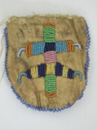 Antique / Vintage Crow Montana Plains Indian Beaded Pouch - C.  1880s Bded 2 Sides photo