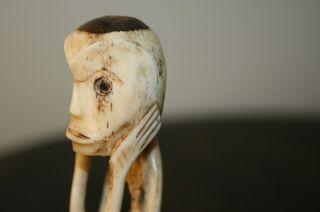 Old Bone Eskimo Totem Figure Antique Folk Art Primitive Inuit Northwest Coast photo