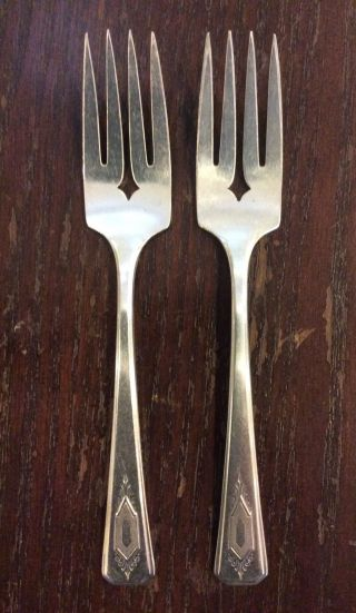 Wm Rogers A1 Plus Nuart 1932 Silverplate Salad Dessert Forks 6 - 1/8