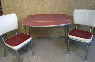 Vintage Retro Drop Leaf Formica Red Chrome Dinette Dining Table With 2 Chairs photo