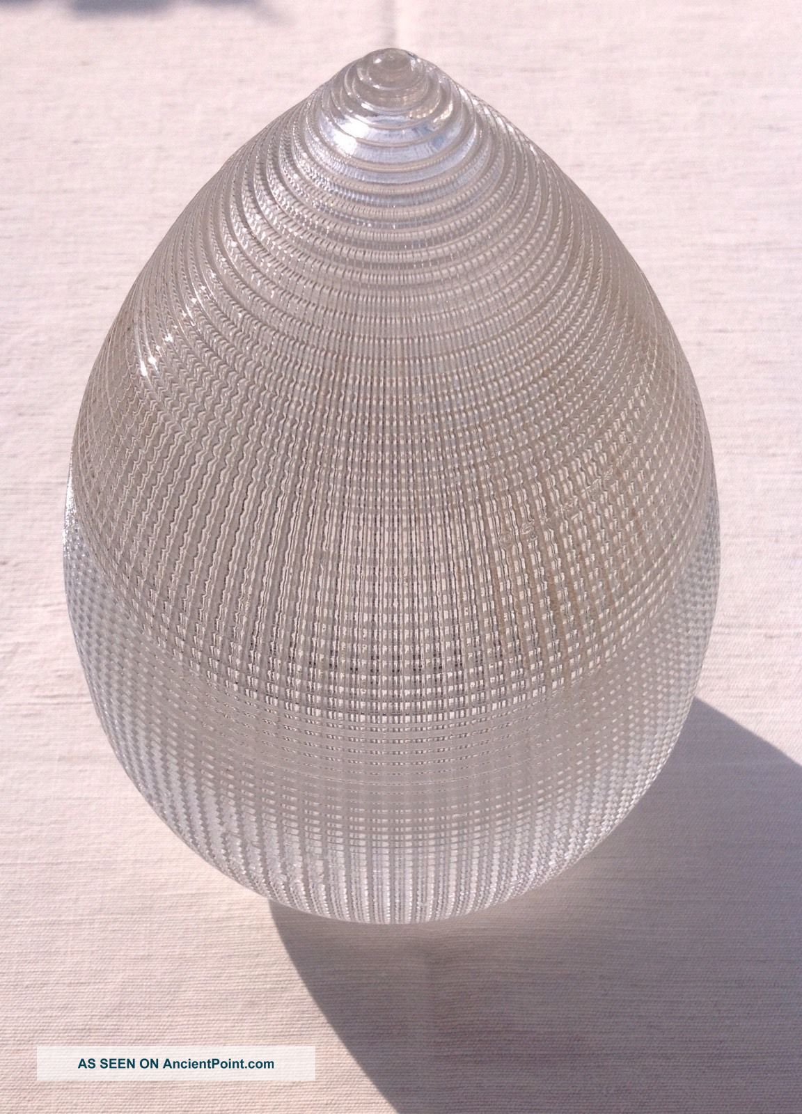 Industrial Dental Prismatic Clear Glass Holophane Acorn Pendant Light Shade 20th Century photo