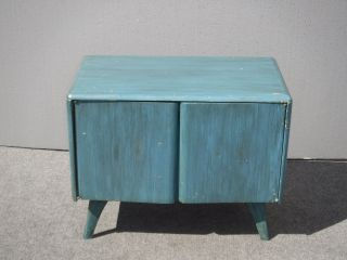 Vintage Heywood Wakefield Danish Modern Style Blue Storage Cabinet Side Table photo