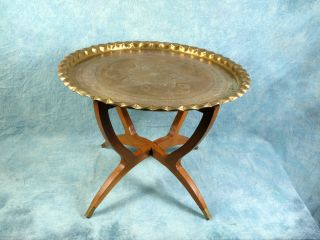 Rare Large Folding Anglo - Indian Wine Coffee Table Brass Tray Engrave African photo