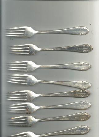 8 Waldorf - Astoria International Silver Salad Forks Pier Smed Art Deco photo