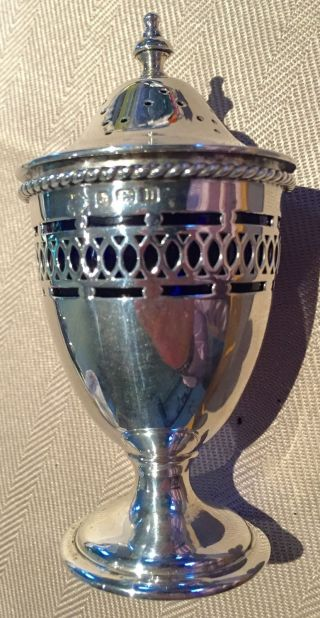 Fabulous 1912 Solid Silver Pepper Pot With Bristol Blue Glass Liner photo