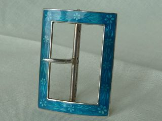 Antique 1911 Solid Hallmarked Silver And Guilloche Enamel Belt Buckle photo